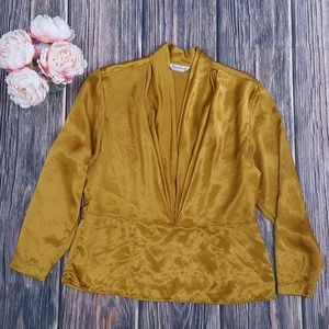 San Andre, Satin Blouse, Dark Gold, Large, 12